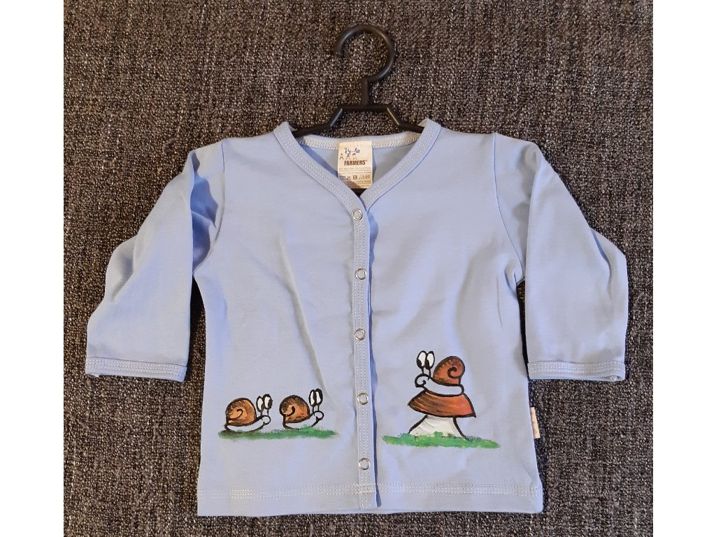 Ručně malovaný dětský propínací kabátek - šnečí rodinka