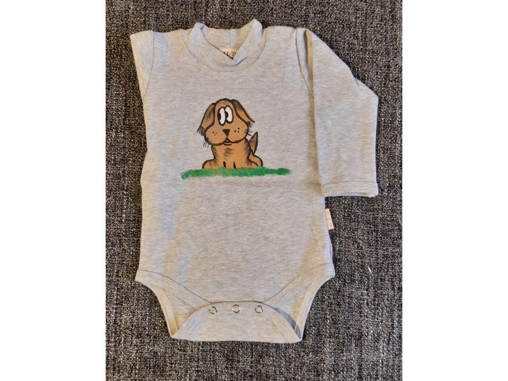 Ručně malované dětské body - pejsek