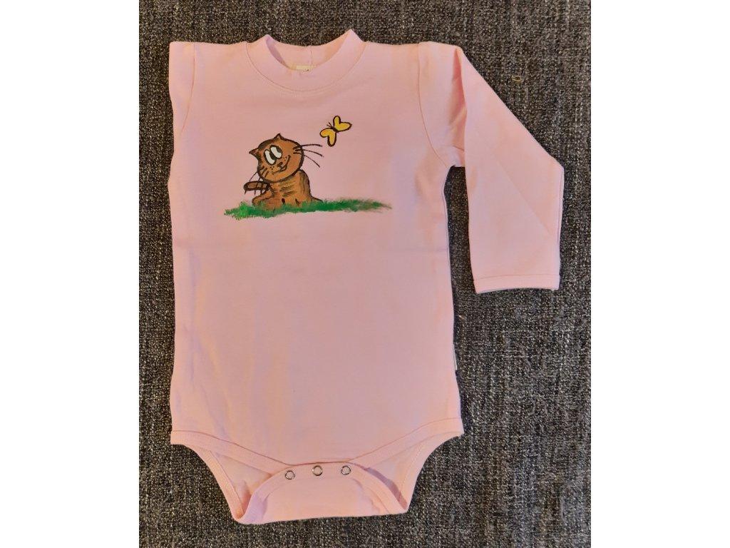 Ručně malované dětské body - kočička s motýlkem