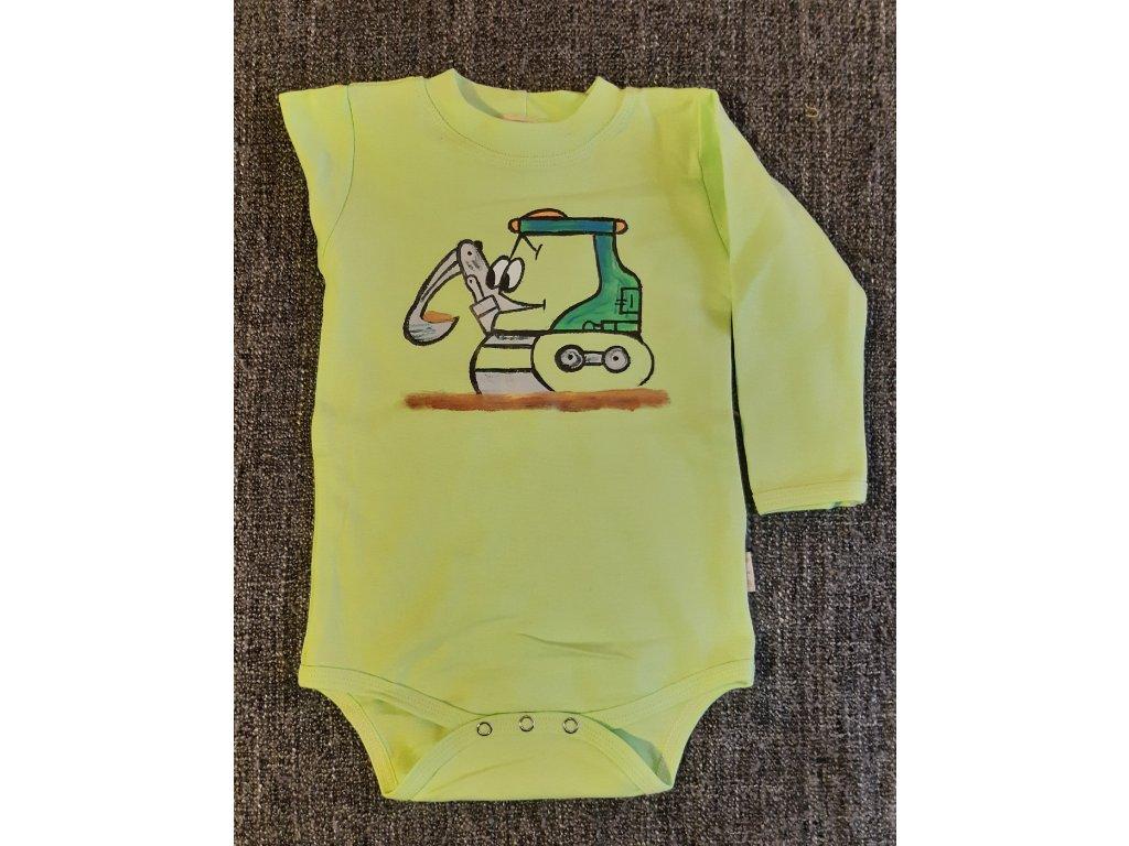 Ručně malované dětské body - bagr