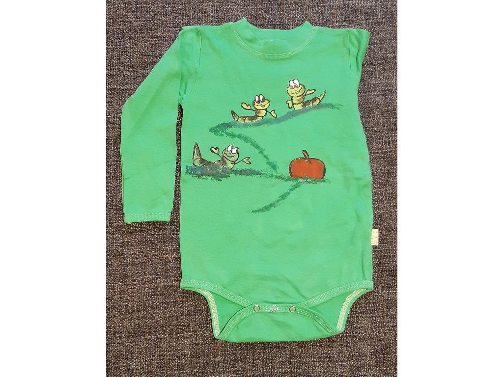 Ručně malované dětské body - červíci a jablko