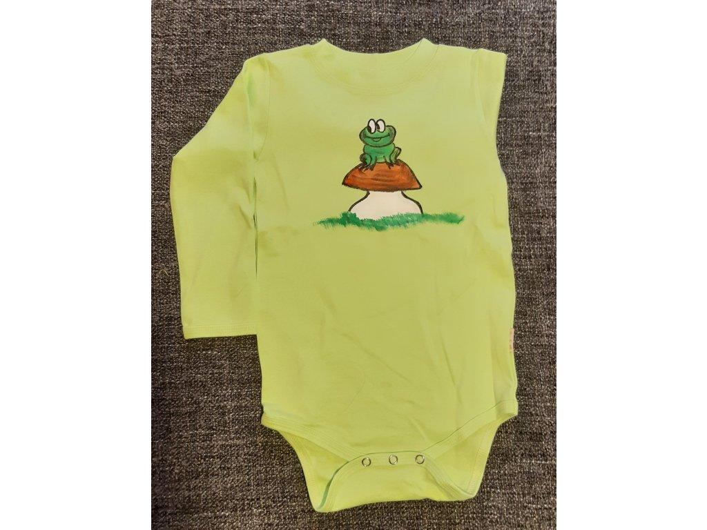 Ručně malované dětské body - žabka na hříbku
