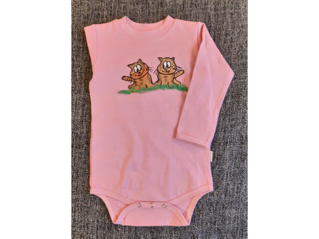 Ručně malované dětské body - dvě kočičky