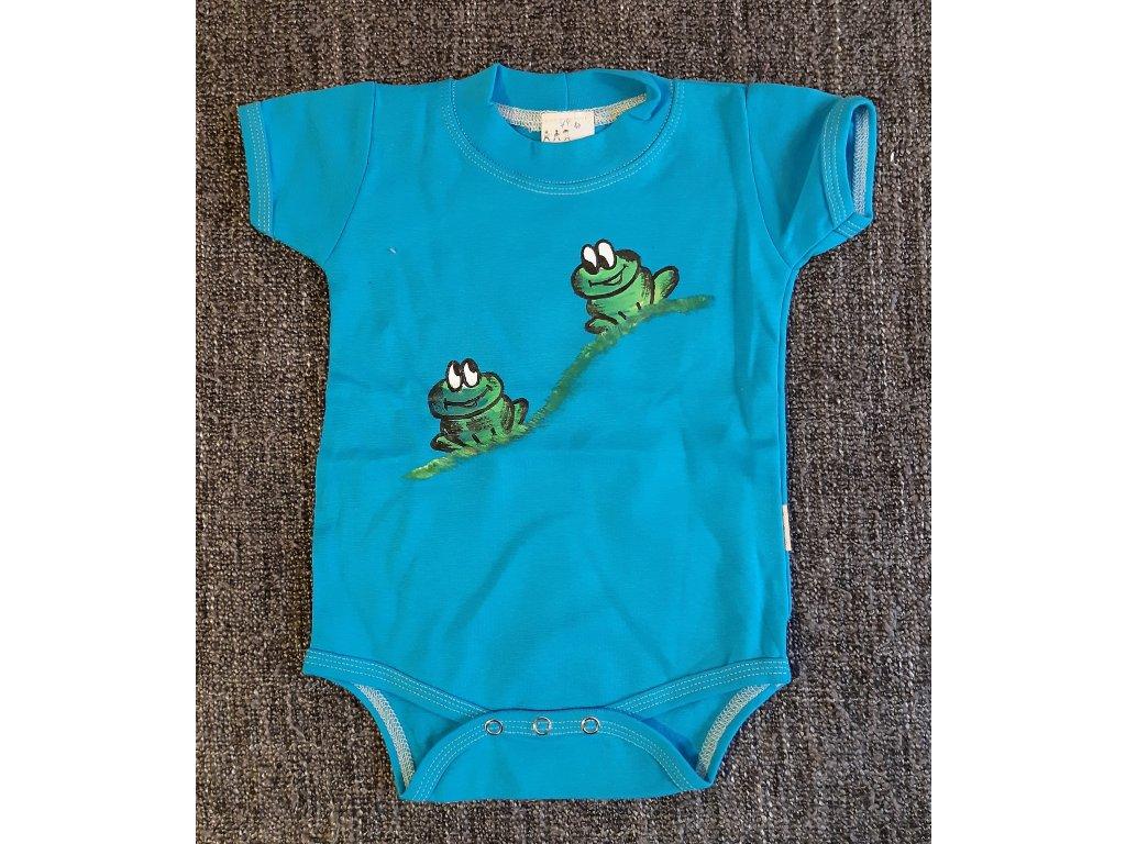 Ručně malované dětské body - dvě žabky