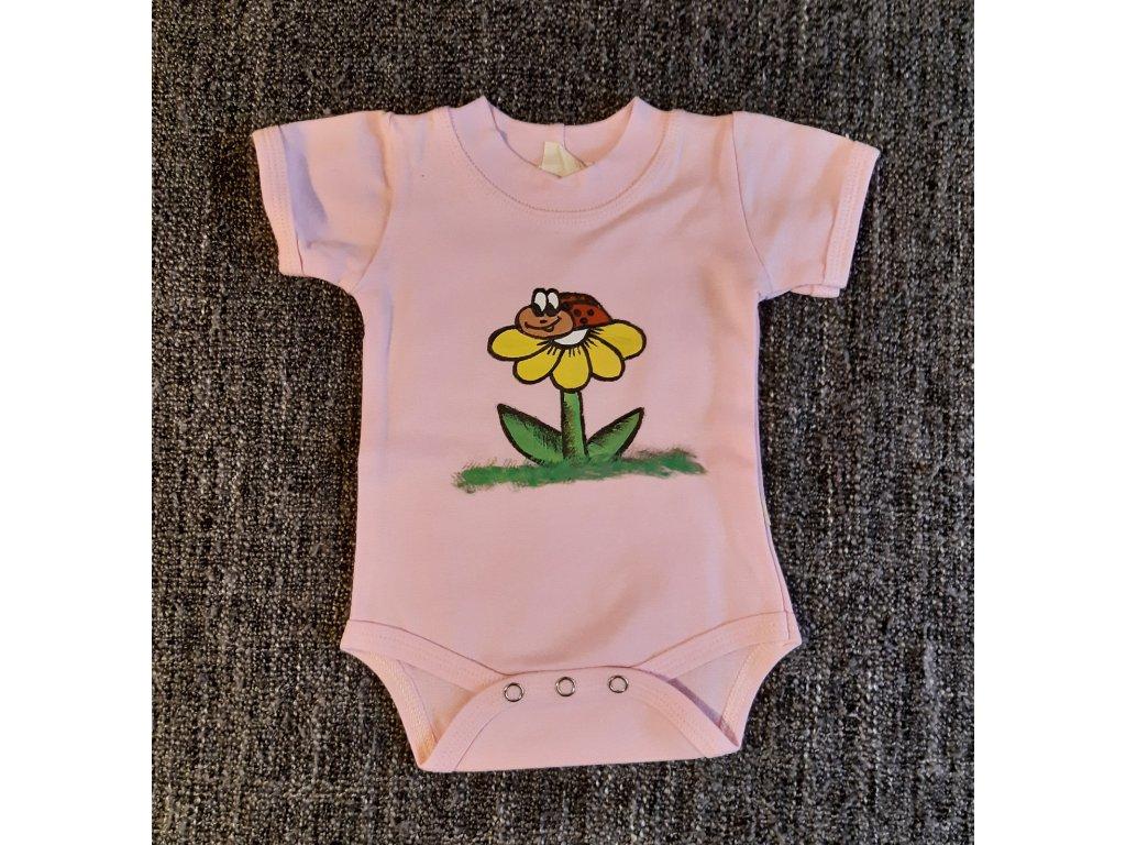 Ručně malované dětské body - beruška na květině