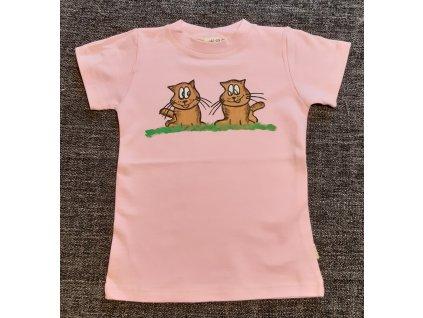 Ručně malované tričko - dvě kočky 2