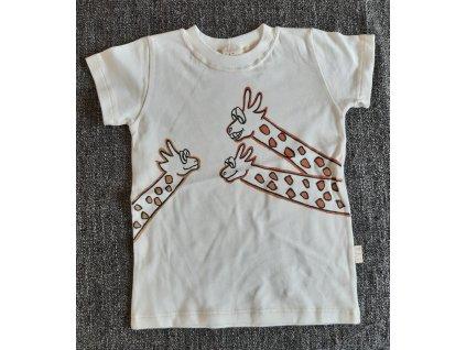 Ručně malované tričko - žirafy nakukují