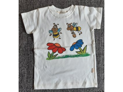 Ručně malované tričko - dva čmeláci u květinek