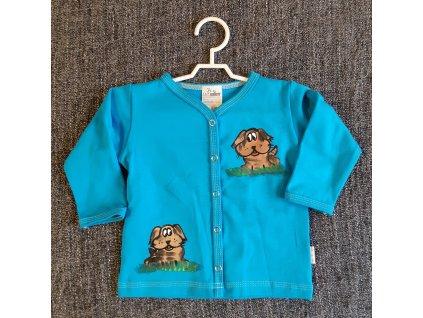 Ručně malovaný dětský propínací kabátek - dva pejsci