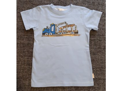 Ručně malované tričko - auto nakládá dřevo