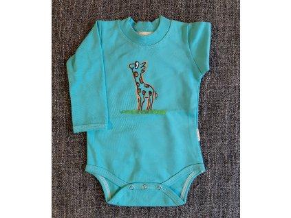 Ručně malované dětské body - žirafa