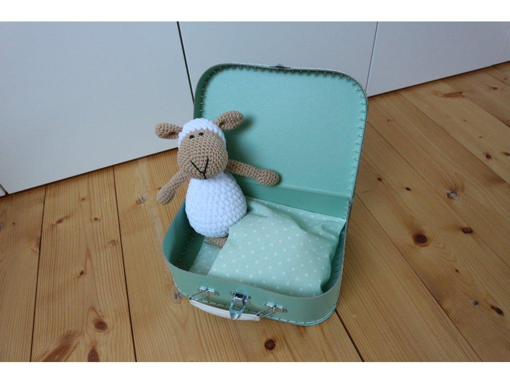 Ovečka bílá v kufříku mint s bílými puntíky