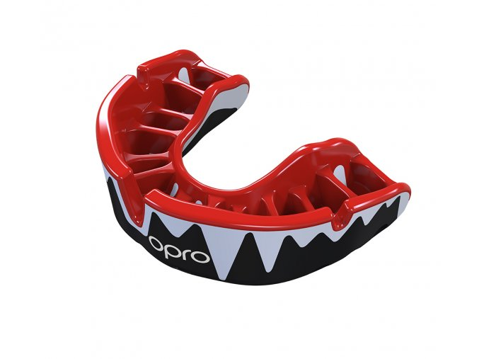 Platinum Fangz Mouthguard Black Red Fins White Handload Gold Print