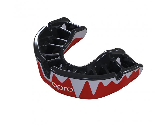 Platinum Fangz Mouthguard Red Black Fins Pearl Handload Gold Print