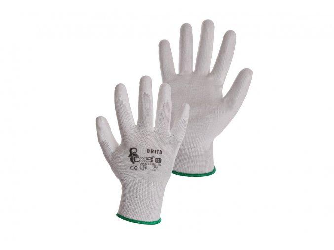 Pracovní bílé povrstvené rukavice brita canis