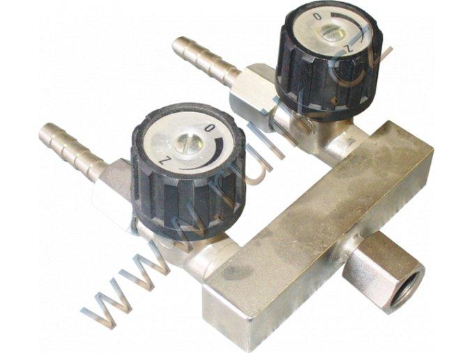Rozvodka uzavírací převl.matice G1/4 na 2x hadice průměr 6.3mm CHROM
