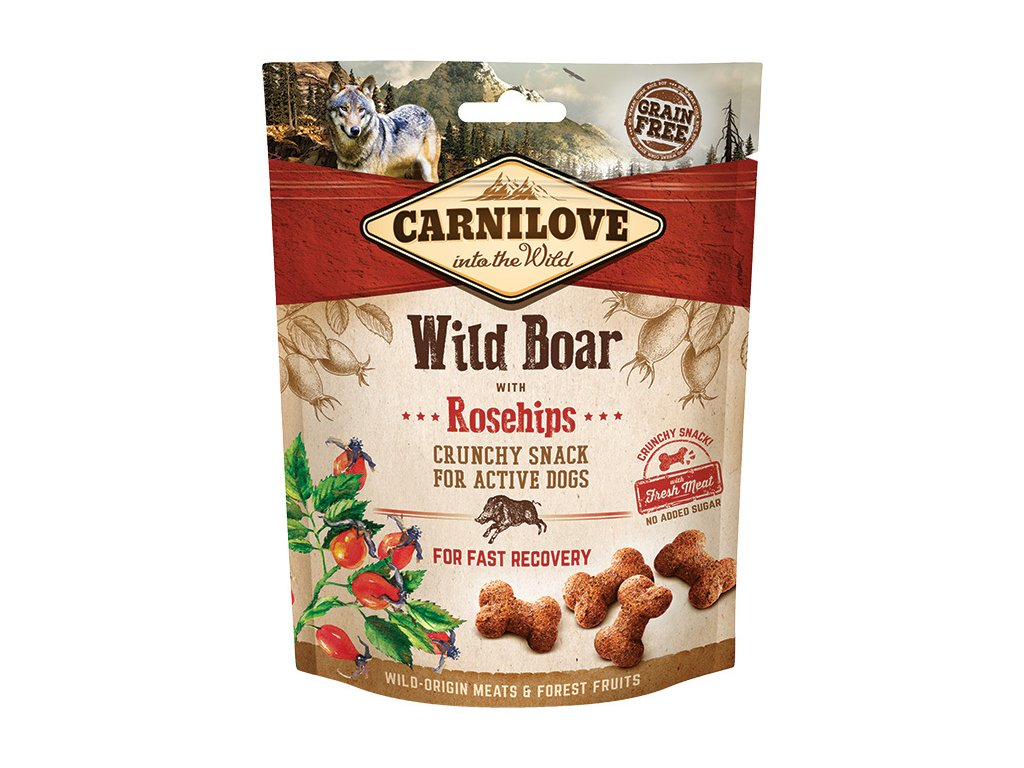 carnilove dog crunchy snack wild boar with rosehips 200g original