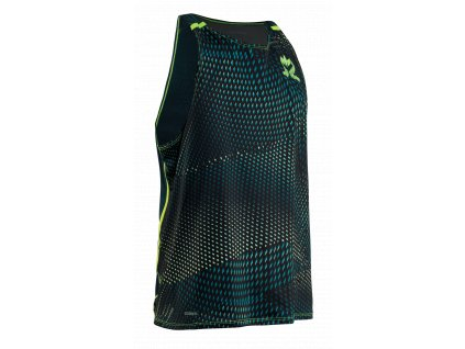 SALMING Run Breeze Tank Men Sharp Lime AOP/Deep Teal Melange