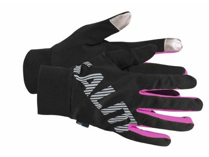 SALMING Running Gloves Black/Pink Glo
