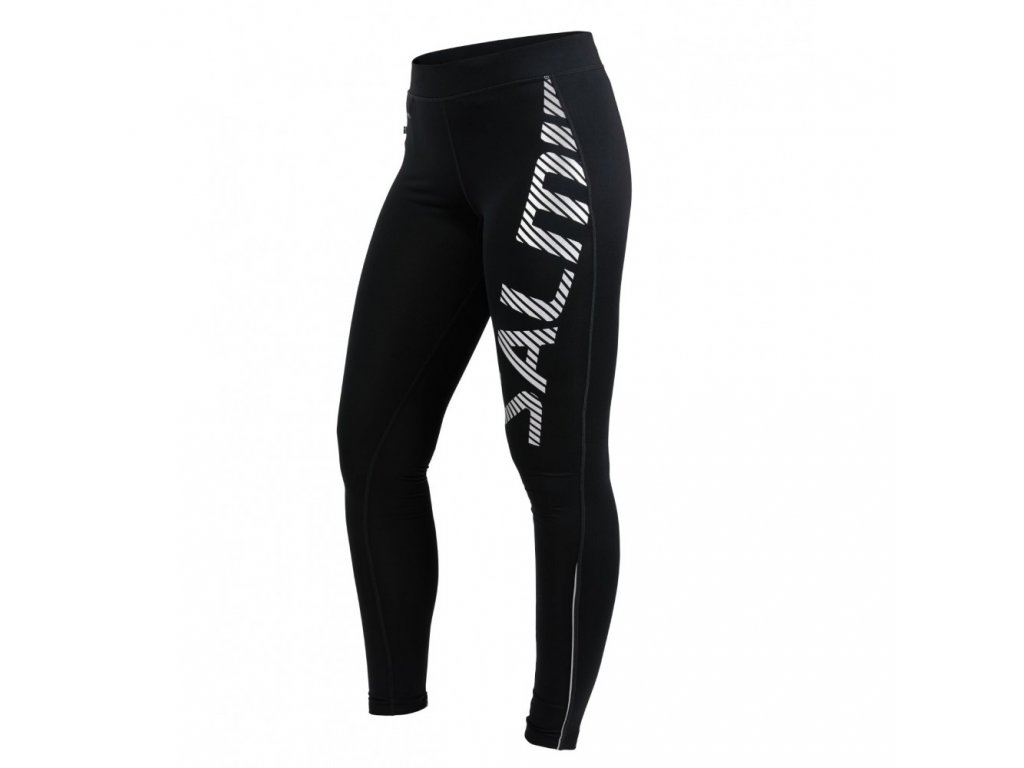logo tights 20 women black silver reflective