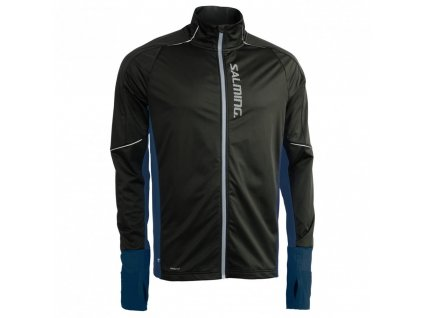 thermal wind jacket men black blue melange