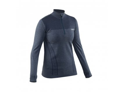 seamless halfzip women steel blue