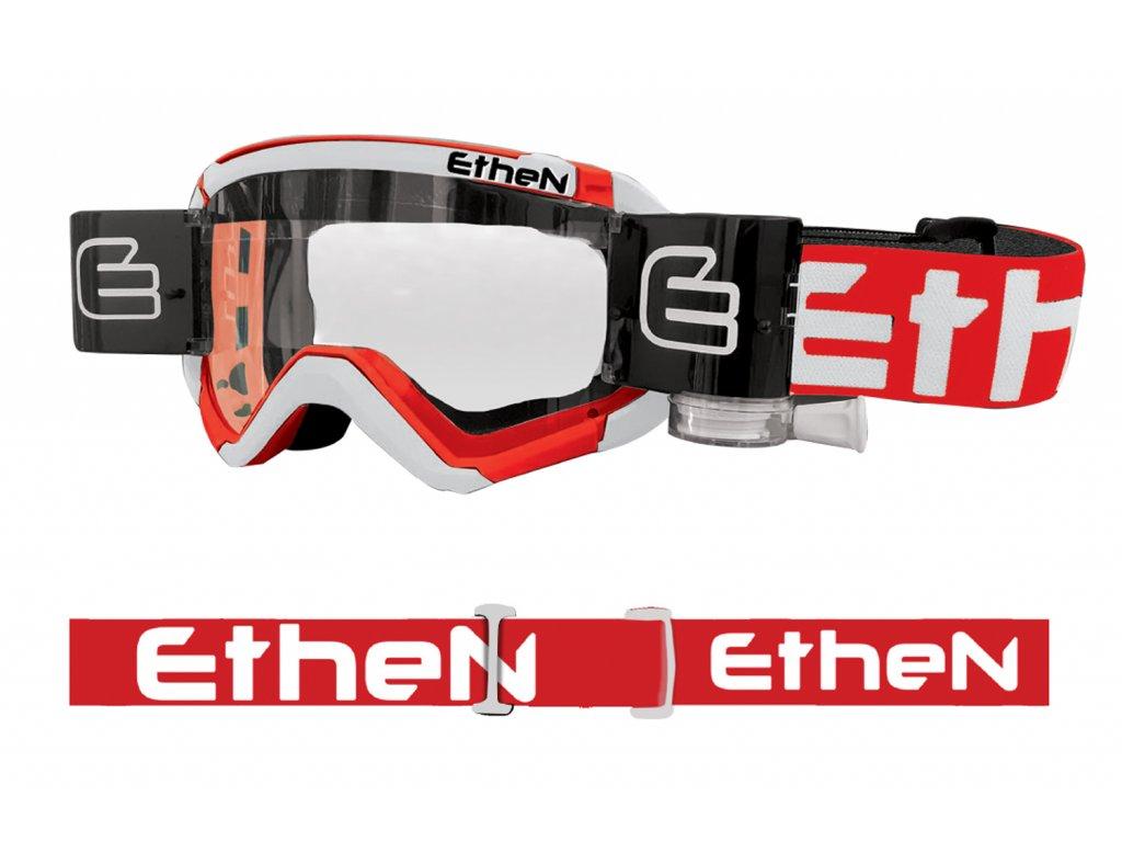 05 PRIMIS MUD MASK MUD0507 motokrosové okuliare bielo-červené s čírym sklom - Roll Off 40mm