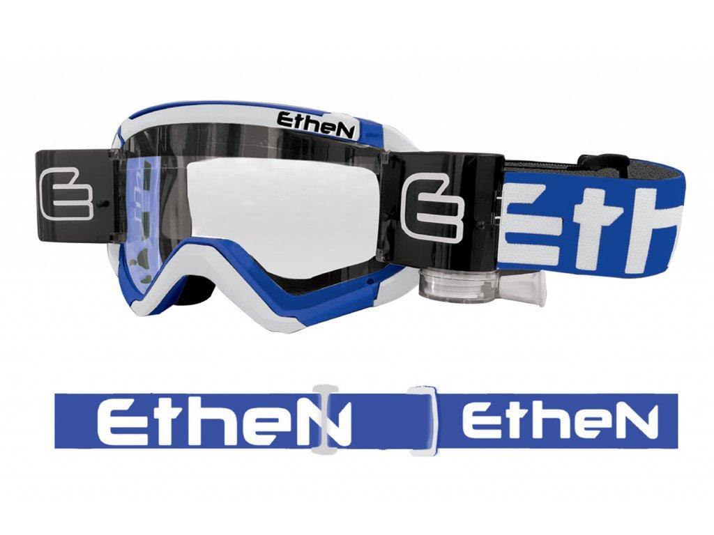 05 PRIMIS MUD MASK MUD0508 motokrosové okuliare bielo-modré s čírym sklom - Roll Off 40mm