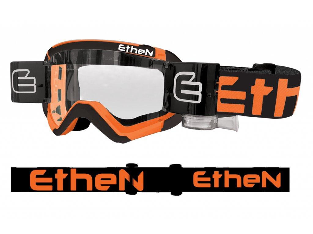 05 PRIMIS MUD MASK MUD0511 motokrosové okuliare čierno-oranžové s čírym sklom - Roll Off 40mm
