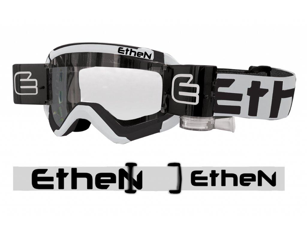05 PRIMIS MUD MASK MUD0513 motokrosové okuliare bielo-čierne s čírym sklom - Roll Off 40mm