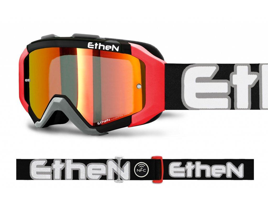 ARES 0715 MX okuliare čierno-šedé s červeným zrkadlovým sklom TOP MODEL