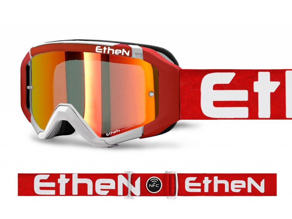MX05R 0559 MX okuliare BIELO - ČERVENÉ FLUO s červeným zrkadlovým sklom