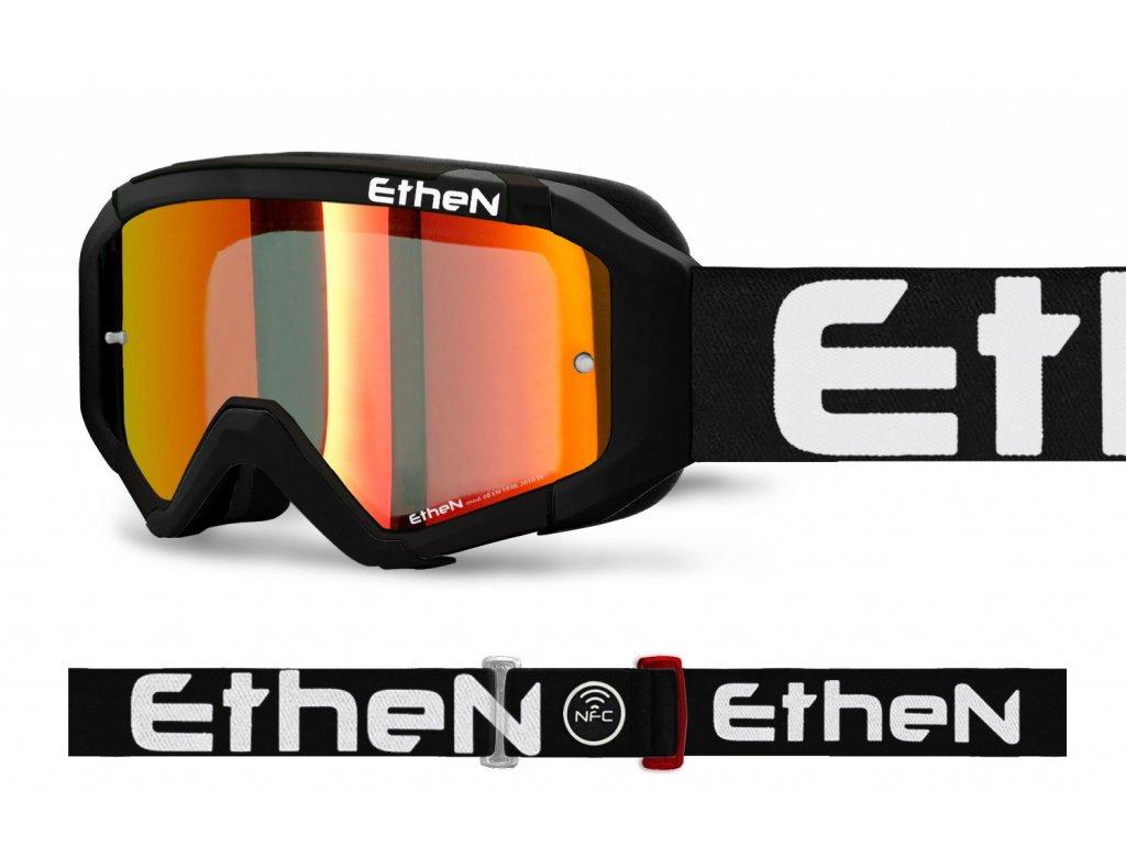 MX05R 0563 MX okuliare ČIERNO - BIELE s červeným zrkadlovým sklom