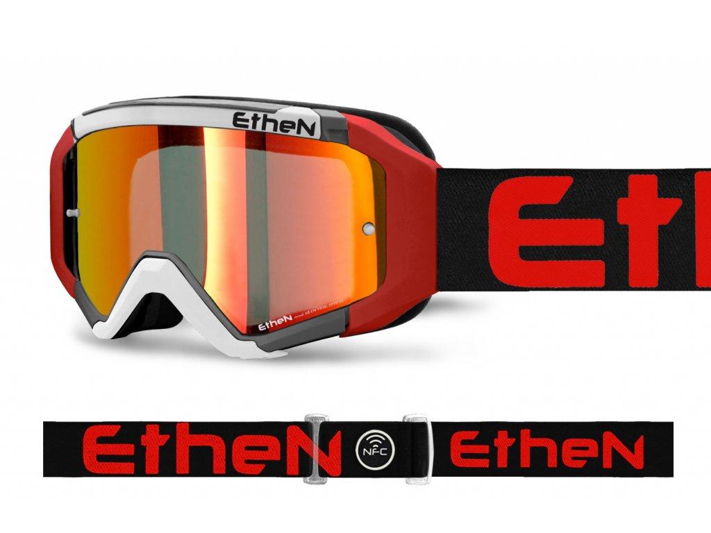 MX05R 0574 MX okuliare ČERVENO - ČIERNO - BIELE s červeným zrkadlovým sklom