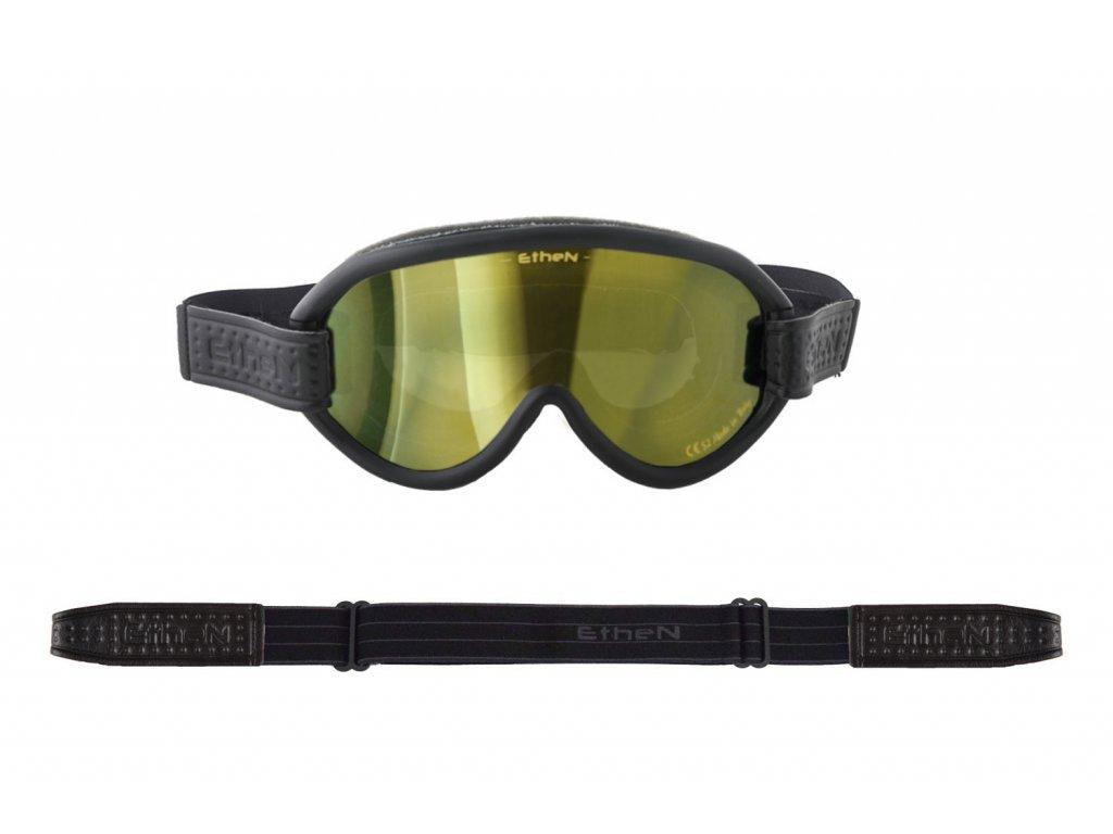 Scrambler SCRAMB11 motocyklové okuliare so zlatým zrkadlovým sklom