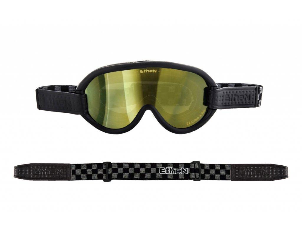 Scrambler SCRAMB12 motocyklové okuliare so zlatým zrkadlovým sklom