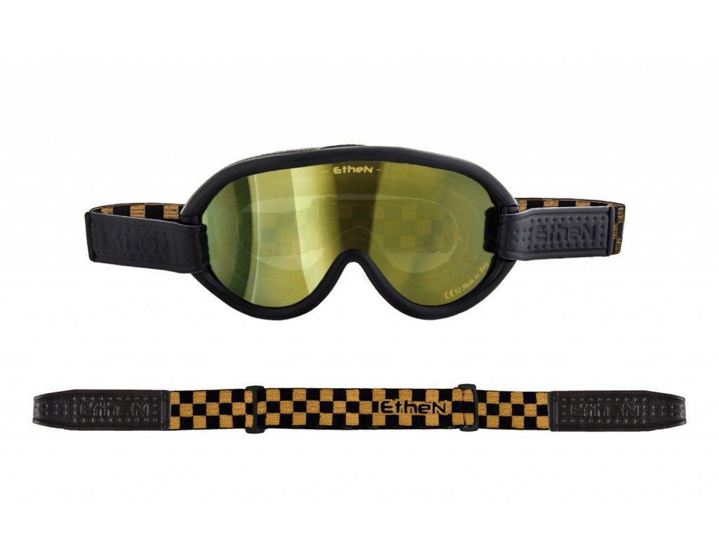 Scrambler SCRAMB13 motocyklové okuliare so zlatým zrkadlovým sklom