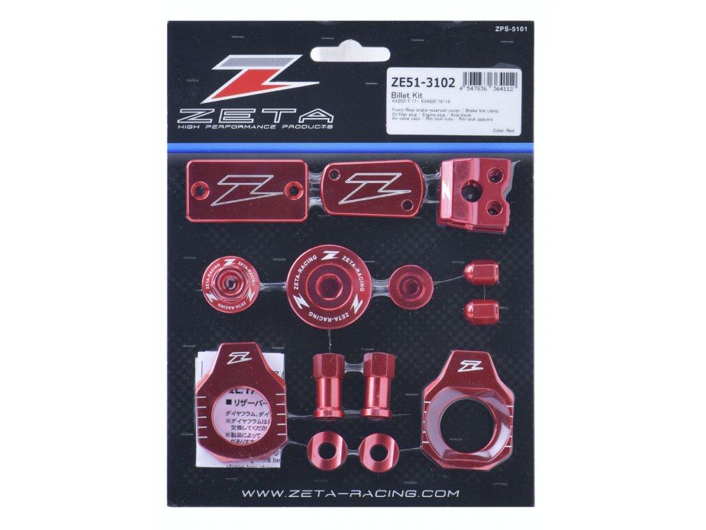 ZETA ALU sada skrutiek a doplnkov KX250/F'17-,KX450F'16-18 Červená
