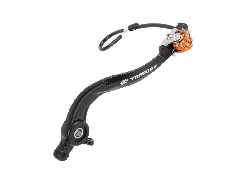 ZETA Brzdový pedál Trigger kovaný KTM EXC/SX,HQV. Oranžový s ložiskom