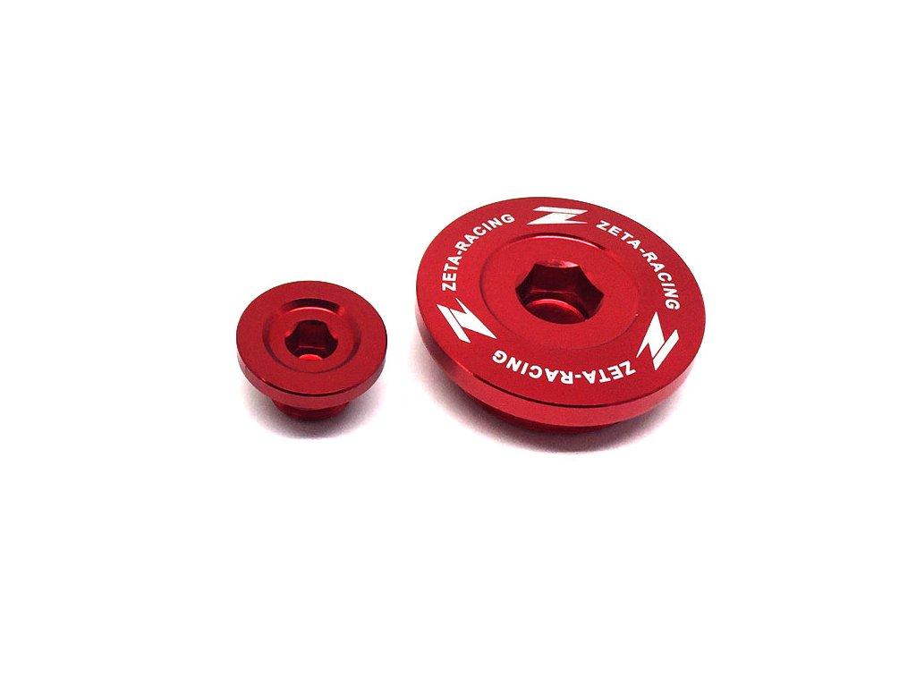 ZETA Hliníková zátka motora KX250/F'11-, KX450/F'09-18 Červená
