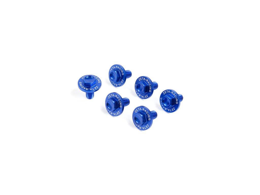 ZETA Sada hliníkových skrutiek do krytov predných tlmičov 6ks Kawasaki modrá