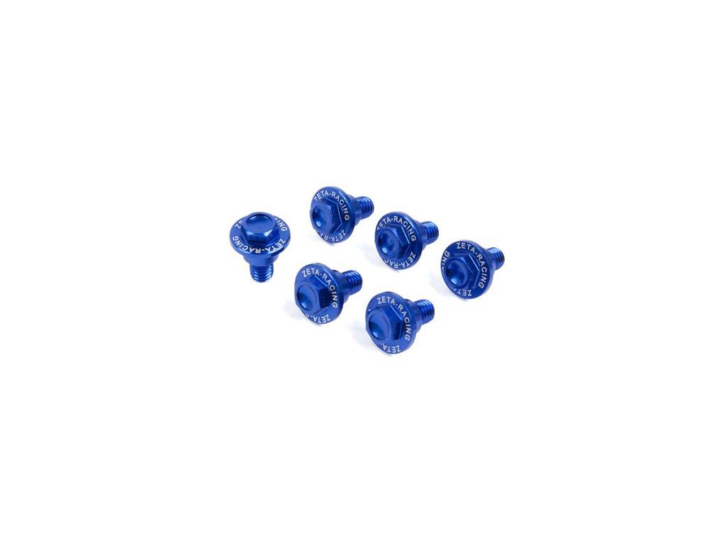 ZETA Sada hliníkových skrutiek do krytov predných tlmičov 6ks KTM/HQV modrá