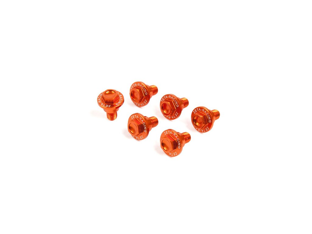 ZETA Sada hliníkových skrutiek do krytov predných tlmičov 6ks KTM/HQV oranžová