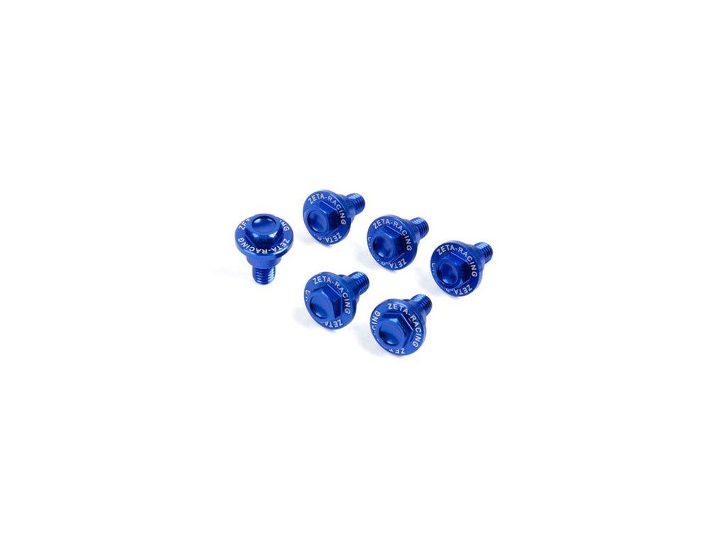 ZETA Sada hliníkových skrutiek do krytov predných tlmičov 6ks Yamaha 1 modrá