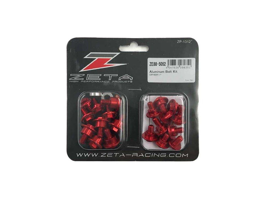 ZETA Sada hliníkových skrutiek do plastov CRF250R'18-, CRF450R'17-, CRF450L'19- červená