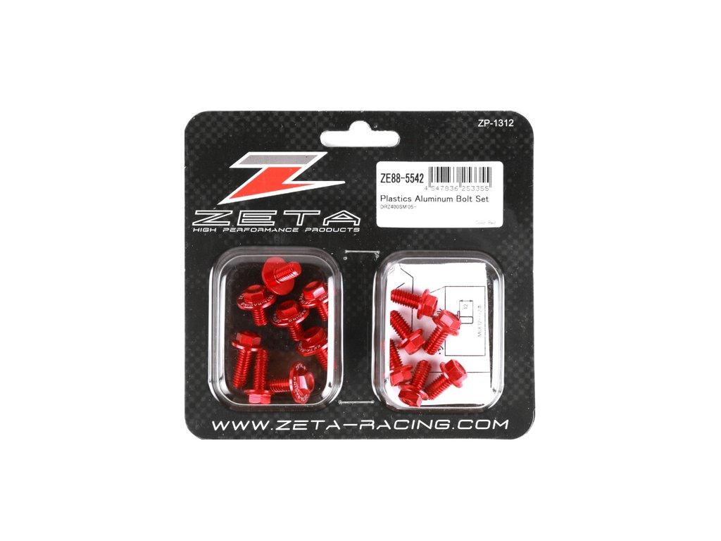 ZETA Sada hliníkových skrutiek do plastov DRZ400S/SM 14ks červená
