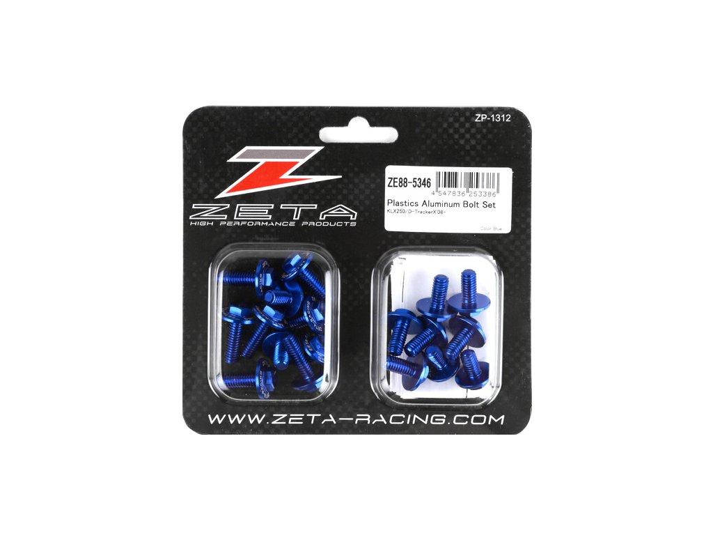 ZETA Sada hliníkových skrutiek do plastov KLX250,D-Tracker 18ks modrá