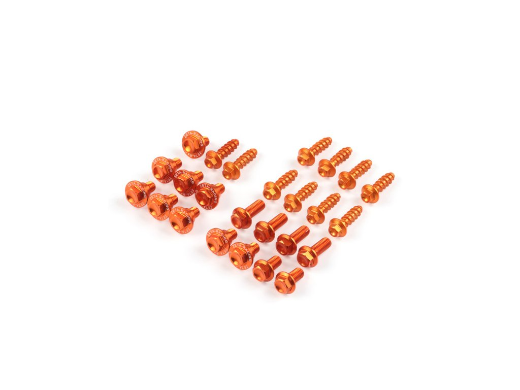 ZETA Sada hliníkových skrutiek do plastov KTM SX/SXF'19- oranžová