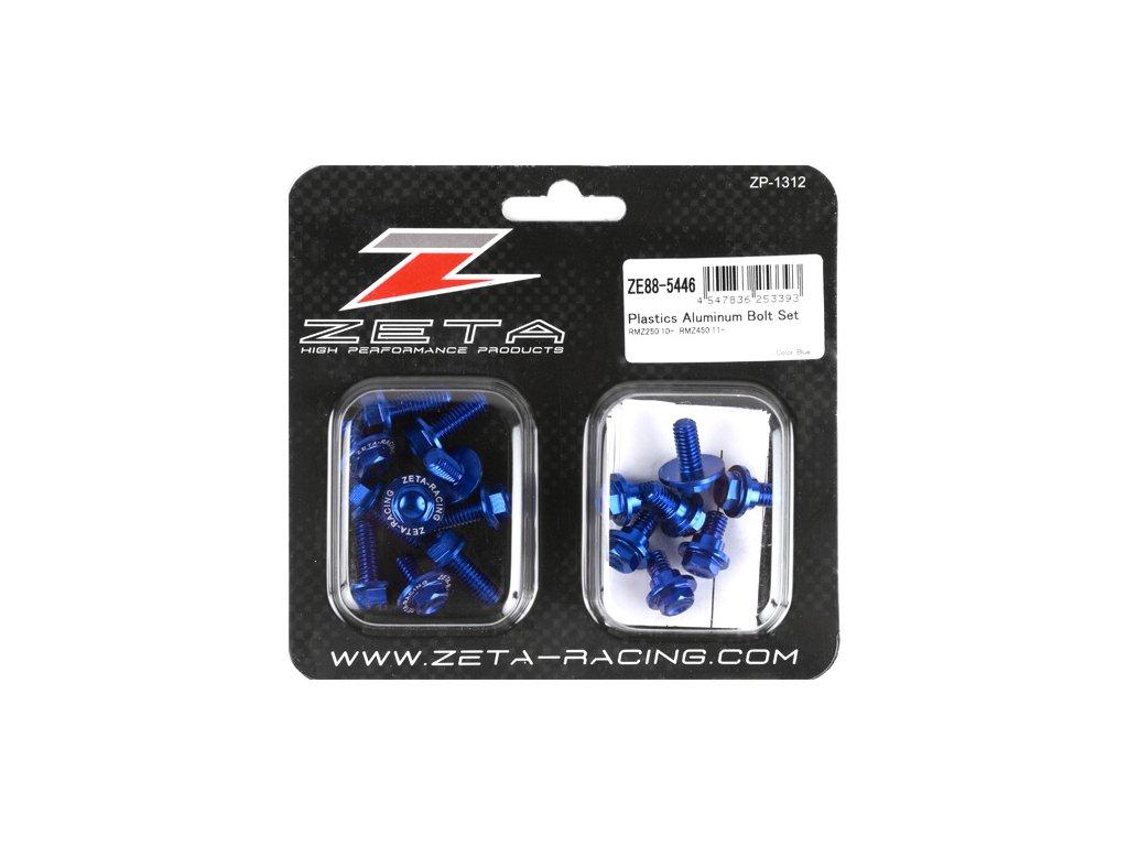 ZETA Sada hliníkových skrutiek do plastov RMZ250'10-18,450'11-17 17ks modrá