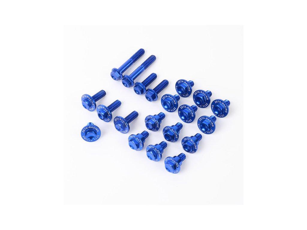 ZETA Sada hliníkových skrutiek do plastov RMZ250'19-, RMZ450'18- 22ks modrá
